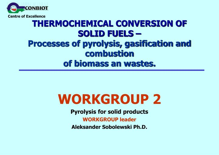 THERMOCHEMICAL CONVERSION OF SOLID FUELS –