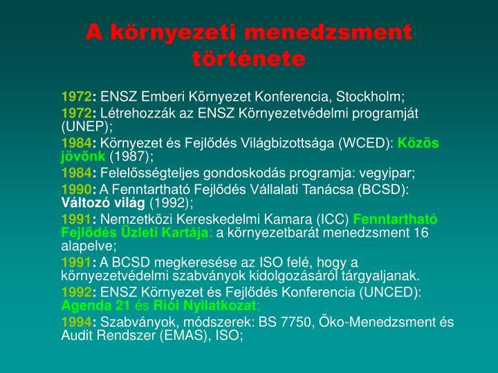 A környezeti menedzsment története