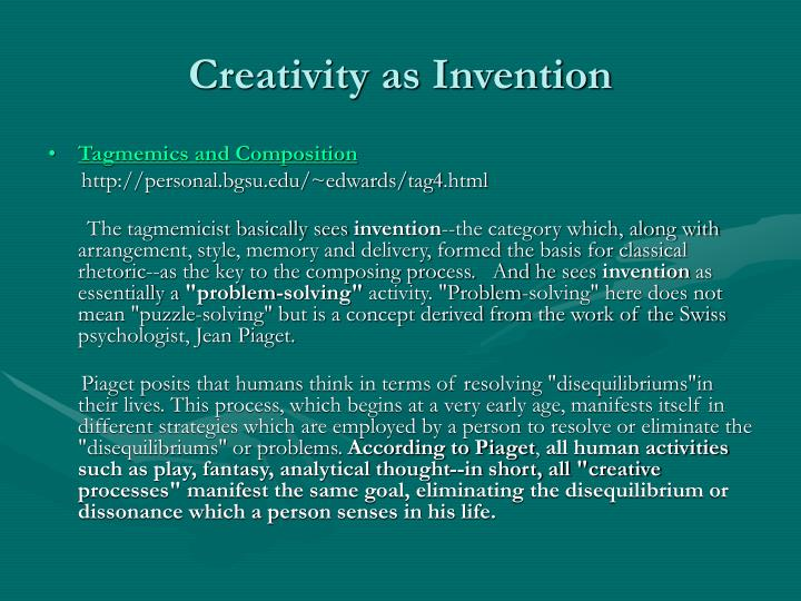 Creativity as Invention