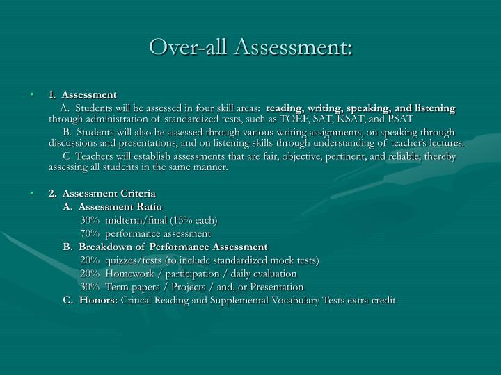 Over-all Assessment: