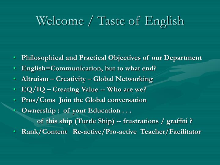Welcome taste of english