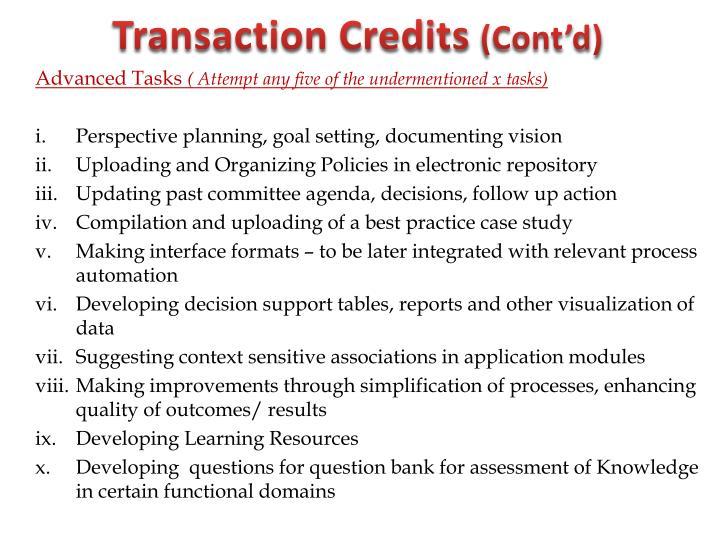 Transaction Credits