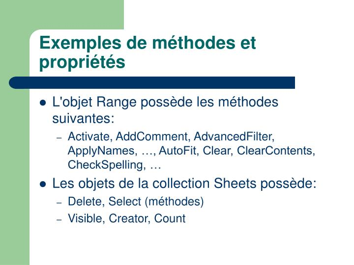 Exemples de méthodes et propriétés