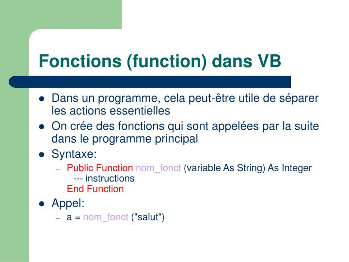 Fonctions (function) dans VB