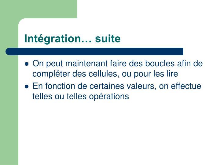 Intégration… suite