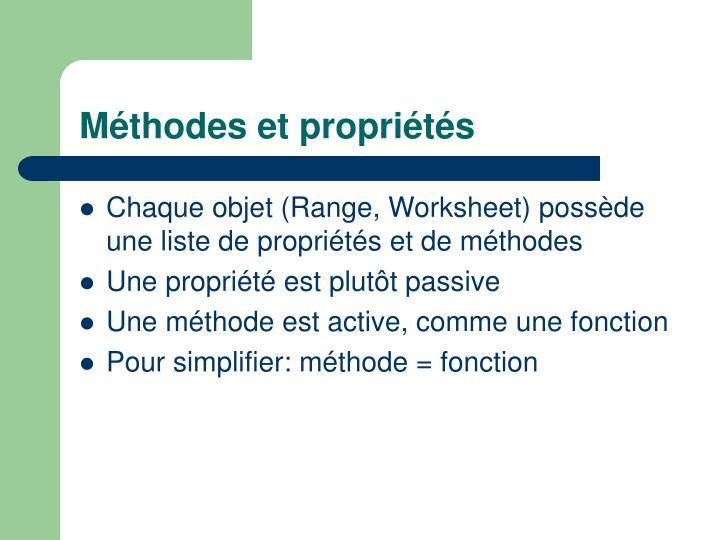 Méthodes et propriétés