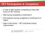 vet participation completion