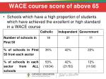 wace course score of above 65