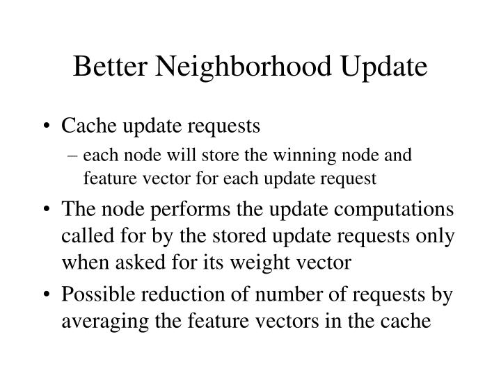 Better Neighborhood Update