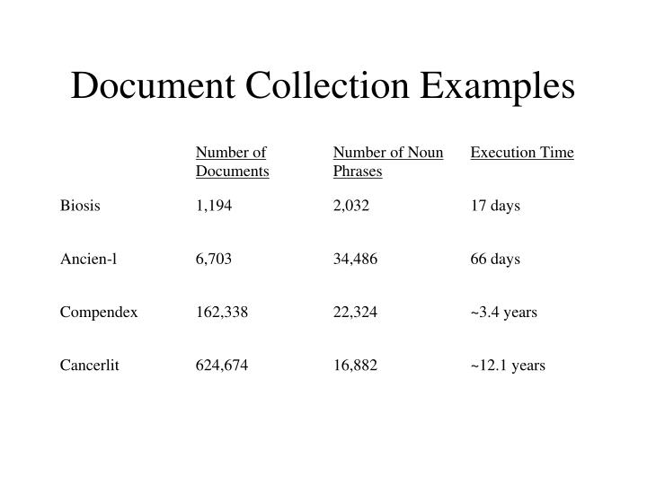 Document Collection Examples