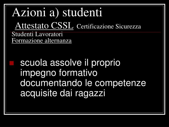 Azioni a) studenti