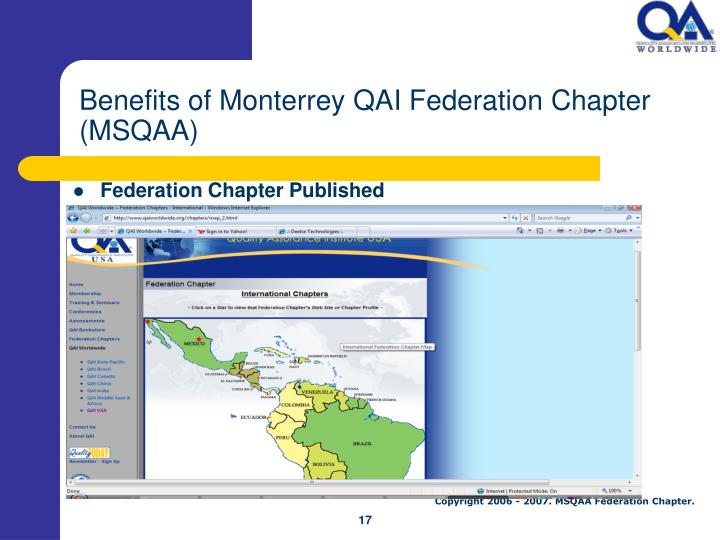 Benefits of Monterrey QAI Federation Chapter (MSQAA)