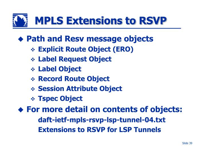MPLS Extensions to RSVP
