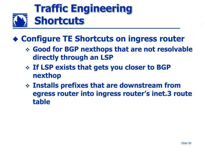 Traffic Engineering Shortcuts
