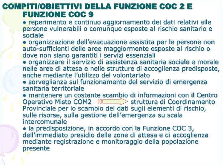 COMPITI/OBIETTIVI DELLA FUNZIONE COC 2 E FUNZIONE COC 9