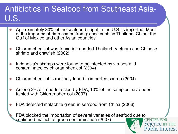 Antibiotics in Seafood from Southeast Asia-U.S.