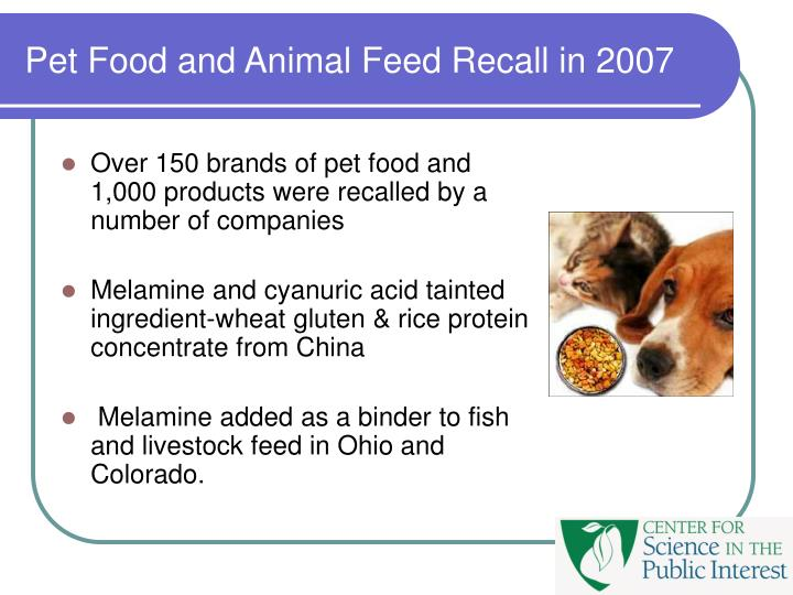 Pet Food and Animal Feed Recall in 2007