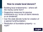 how to create local donors