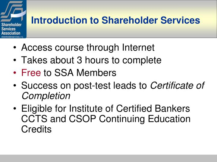 Introduction to shareholder services