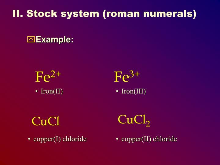 II. Stock system (roman numerals)