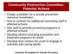 community postvention committee potential actions