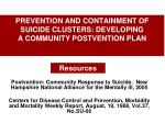 prevention and containment of suicide clusters developing a community postvention plan