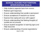 school suicide postvention intervention goals