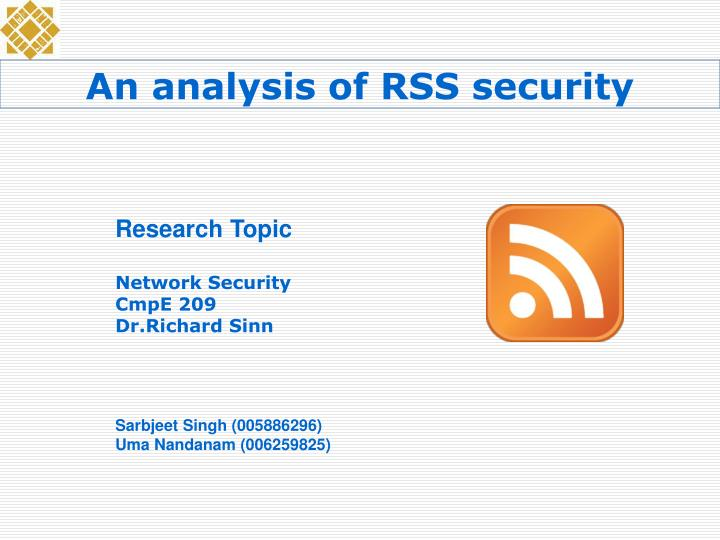 An analysis of RSS security