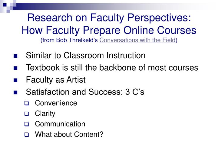 Research on Faculty Perspectives: