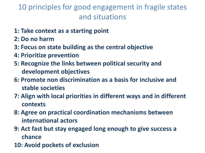10 principles for good engagement in fragile states and situations