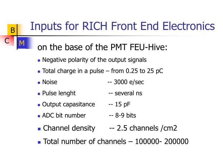 Inputs for rich front end electronics