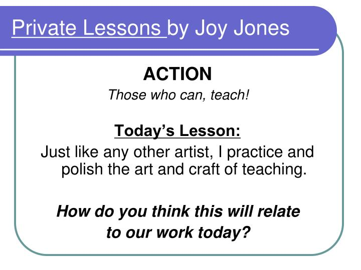 private lessons by joy jones n.