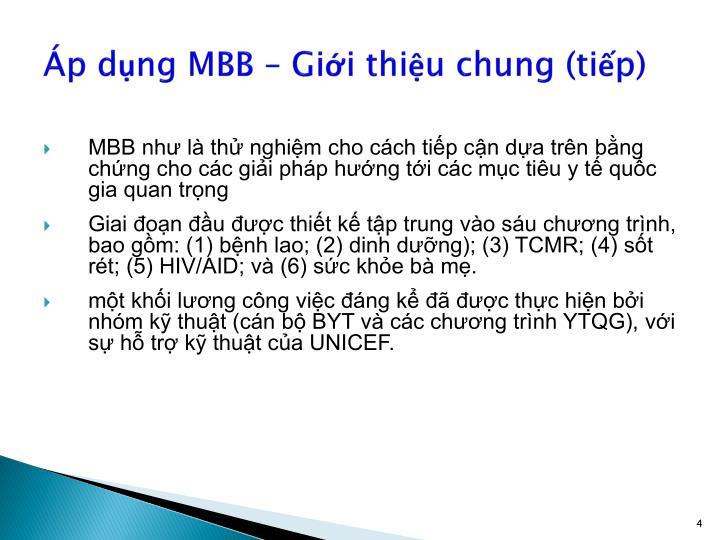 Áp dụng MBB – Giới thiệu chung (tiếp)