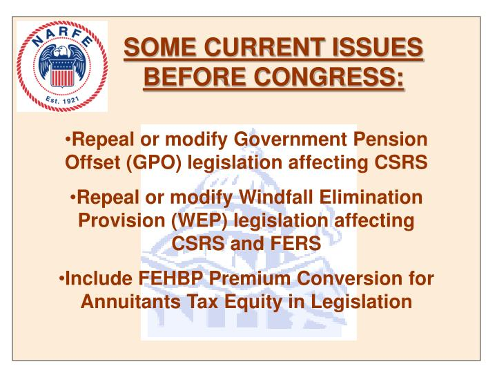 SOME CURRENT ISSUES BEFORE CONGRESS: