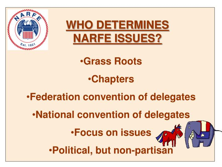 WHO DETERMINES NARFE ISSUES?