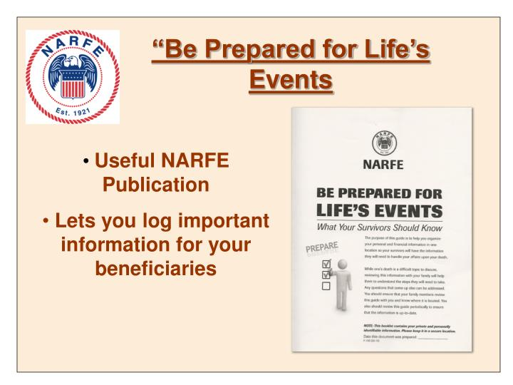 """""""Be Prepared for Life's Events"""
