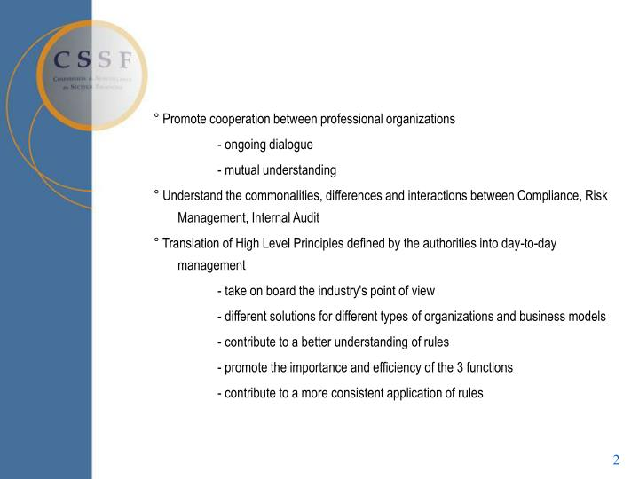 ° Promote cooperation between professional organizations