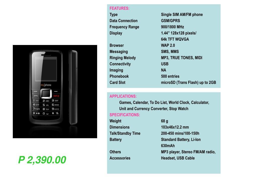PPT - FEATURES: Type Dual SIM mini-slider phone Data
