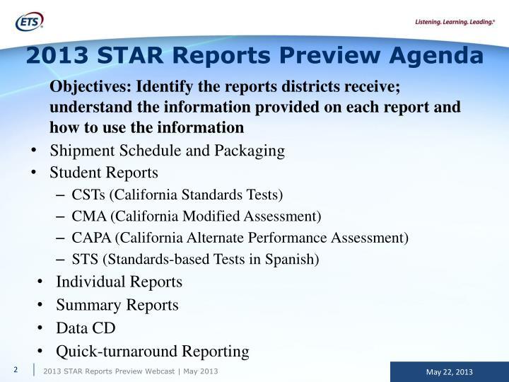 2013 star reports preview agenda