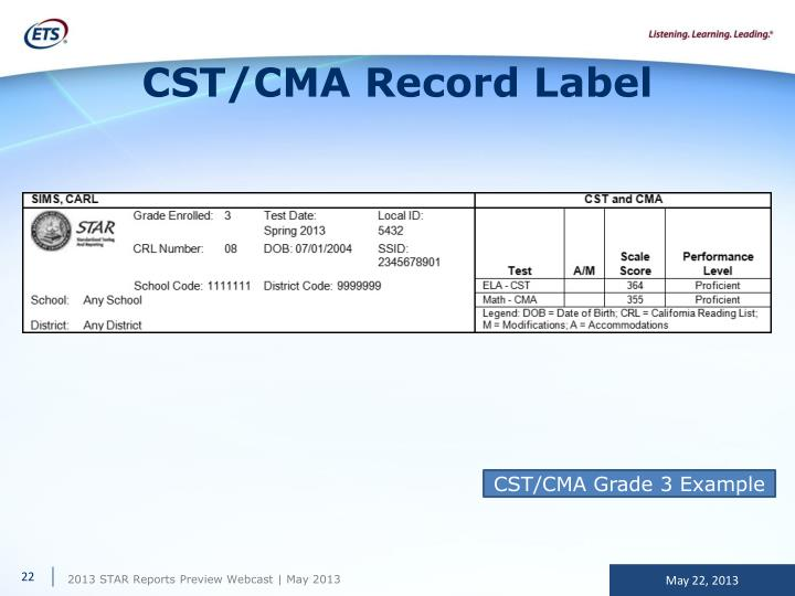 CST/CMA Record Label