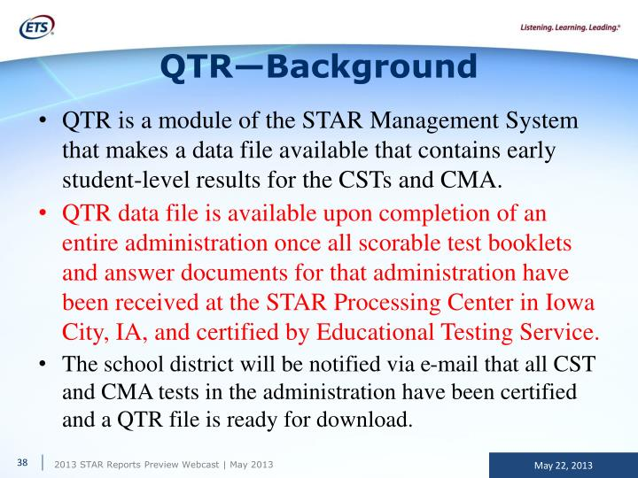 QTR—Background