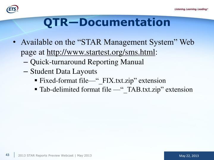 QTR—Documentation