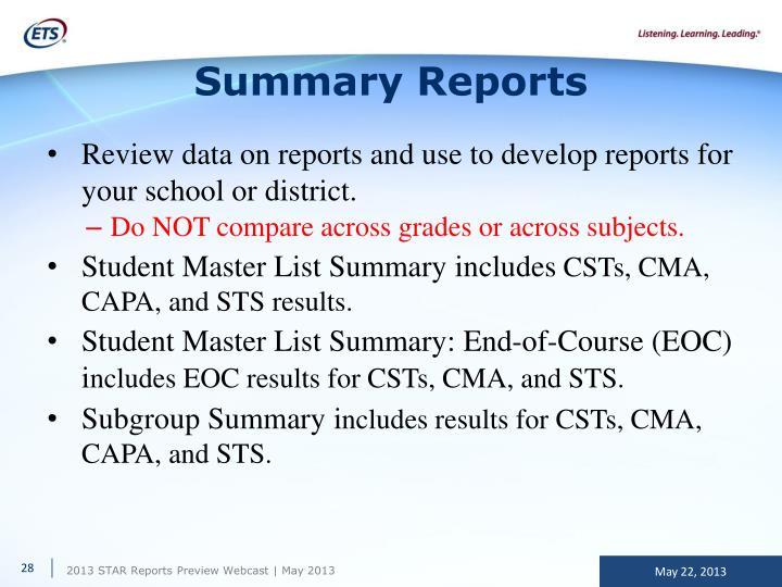 Summary Reports