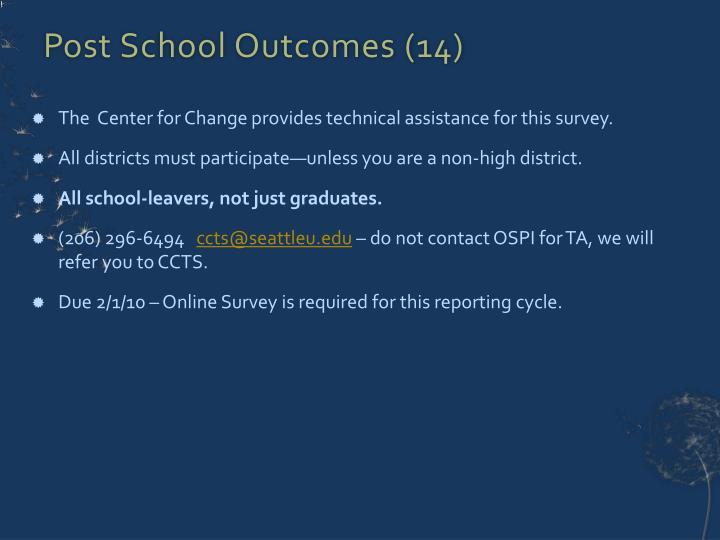 Post School Outcomes (14)