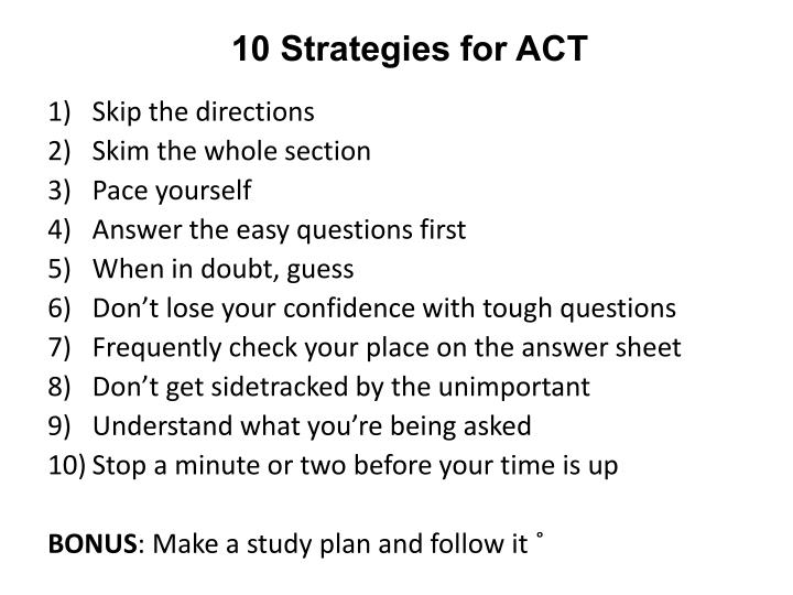 10 Strategies for ACT