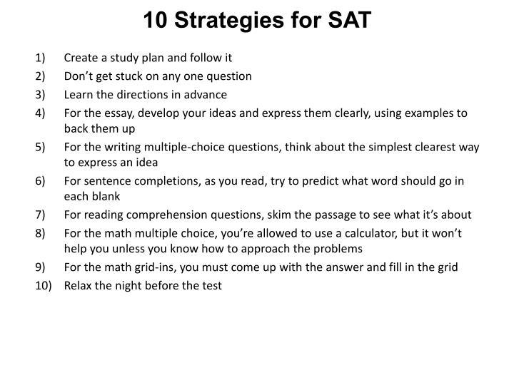 10 Strategies for SAT