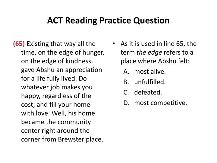 ACT Reading Practice Question