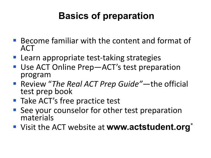 Basics of preparation