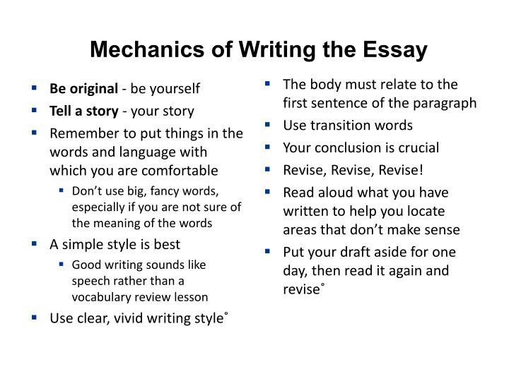 Mechanics of Writing the Essay