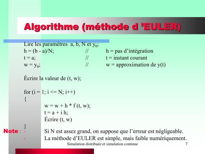 Algorithme (méthode d'EULER)